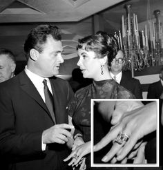 #ElizabethTaylor's  Husband No. 3: Michael Todd. Michael Todd presented Liz with a 29.4 carat diamond. (That's 13 carats bigger than Kim Kardashian's 16.5 carat center stone, to put the super-size sparkler in perspective!) The pair had two weddings: an all-Spanish civil ceremony in Spain followed by a second ceremony in Mexico.