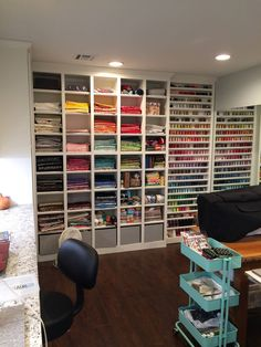 Sewing Room Tours A Successful Sewing Room Remodel Scissortail Quilting Sewing Room Design, Sewing Room Storage, Sewing Room Decor, Craft Room Design, Sewing Room Organization, Craft Room Storage, Fabric Storage, Sewing Studio, Storage Area