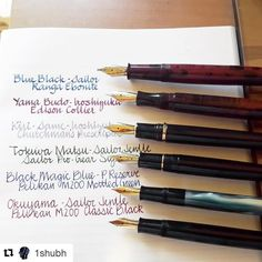 It's Monday - make the best of it by inking up some pens and write! Be creative! It will make the day go by quicker I promise! . High quality lineup by @1shubh (via @repostapp)  Currently inked..#rangapens Red Ebonite {1.1 } #edisonpenco Collier {1.1} #italix Churchman's Prescriptor {MCI} #sailor Pro Gear {H-B} #pelikan200 ... #iroshizuku Yama Budo Kiri Same #sailorjentle Tokiwa Mastu Okuyama #privatereserve Black Magic Blue #sailor Blue Black...  #fpaddict #fountainpenink #penaddict…
