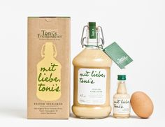 Packaging for Toni's Eierlikoer, a vanilla and egg liqueur in a flip-top bottle and packed in an uncoated, unbleached box with a screen-printed finish. Tea Packaging, Food Packaging Design, Beverage Packaging, Bottle Packaging, Pretty Packaging, Packaging Design Inspiration, Brand Packaging, Organic Packaging, Food Branding