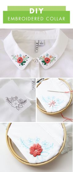 trendy embroidery shirt collar fashion 50 Easy DIY Embroidery Shirt Designs You Can Do By Hand - The Thrifty Easy DIY Embroidery Shirt Designs You Can Do By HandDIY Sticken - ein schnelles Embroidery On Clothes, Embroidered Clothes, Embroidery Fashion, Hand Embroidery Stitches, Hand Embroidery Designs, Embroidery Ideas, Beginner Embroidery, Simple Embroidery, T Shirt Embroidery