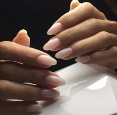 Elegant almond shaped nude nails