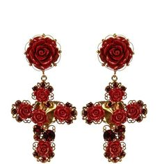 DOLCE & GABBANA Crystal and rose embellished earrings ($1,229) ❤ liked on Polyvore featuring jewelry, earrings, accessories, joias, red, red gold, dolce gabbana earrings, crucifix earrings, crystal earrings and crystal jewelry