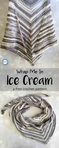 Free crochet pattern!  With just two skeins of Lion Brand Ice Cream yarn and this free pattern you can crochet this beautiful, summer weight shawl!  An easy pattern with pictures to help you out.