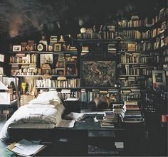 Dreamroom / halcyon days on flickr picture on VisualizeUs Beautiful bed room full of books.