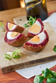 Beetroot scotch eggs