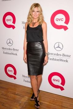 Heidi Klum, leather pencil skirt