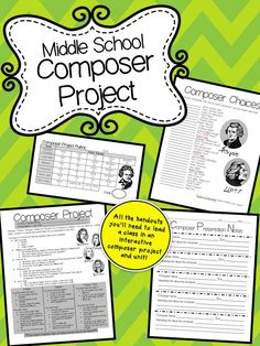 Middle School Composer Project Unit- All the handouts you'll need to lead your own middle school music class in an approximately 2 week interactive composer unit! Middle School Choir, Music School, High School, Music Lesson Plans, Music Lessons, Elementary Music, Elementary Schools, Upper Elementary, Teaching Music