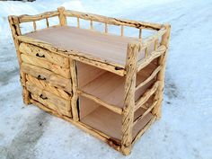 rustic log changing table for the baby