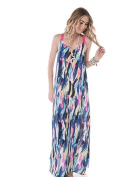 "Meet your new favorite maxi! This one-and-done beauty can take you from brunch with the girls to date night, no problem! Alyse Is Wearing a Small. Height: 5'9"" Fabric: 100% Polyester Length: Small- 58"