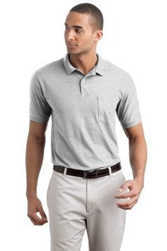 Men's 5.2 oz Hanes STEDMAN Blended Jersey Pocket Polo Ash S Men's 5.2 oz Hanes