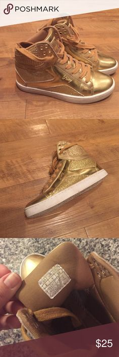 Love Pastry Kids high tops, like new! Metallic gold and like new. Worn for hip hop dance costume. Pastry Shoes Sneakers