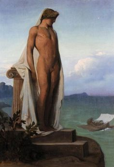 """art-and-things-of-beauty: """" François-Léon Bënouville The shadow of Achilles appearing to the Greeks. Oil on canvas, 47 x 33 cm. Beauty In Art, Male Beauty, Michel Martin, Mythology Books, Mythology Paintings, Greek Mythology, Portraits, Male Figure, Old Master"""
