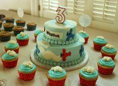 birthday, party, kids, airplane, cake, plane, sky, clouds, cupcake, three years old