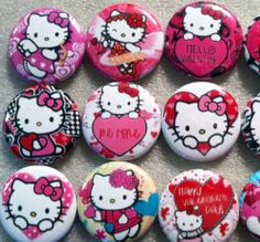 "Hello Kitty Valentine 1"" Flatback Buttons Crafts Hairbows Cabachons"