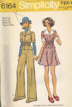 Simplicity 70s Sewing Pattern Mini Skirt Wide Leg Pants Short Sleeve Jacket Elastic Fitted Waist Lace Trim Zipper Front Uncut FF Bust 29
