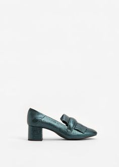 Metallic heel loafer