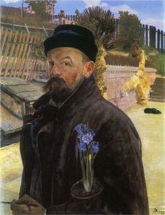 Self-portrait with hyacinth by Jacek Malczewski (1854-1929)
