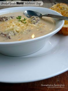 Smoked Gouda Morel Mushroom Soup ~ Sumptuous Spoonfuls Adjust ingredients to make ketogenic friendly Gourmet Recipes, Cooking Recipes, Game Recipes, Easy Cooking, Drink Recipes, Recipies, Morel Mushroom Recipes, Mushroom Bisque, Smoked Gouda