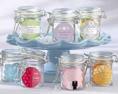 Cute little labeled jars could have sweets, soaps, or something else inside