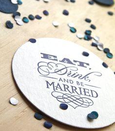 Wedding Letterpress Coaster Eat, Drink and be Married set of 6 navy blue, royal blue, dark blue, gift tag, wedding gift