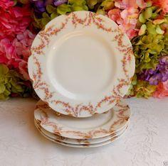 4 Vintage Haviland Limoges Porcelain Dinner Plates ~ Rose Swags ~ Gold #HavilandLimoges