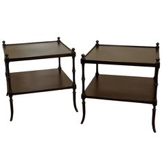 Pair of Two Tier End Tables by Michael Taylor for Baker  USA  1950's  A beautiful pair of end tables in black finish made by BAKER.