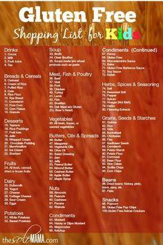 Gluten free Grocery Shopping List Gluten free shopping list for kids Gluten…