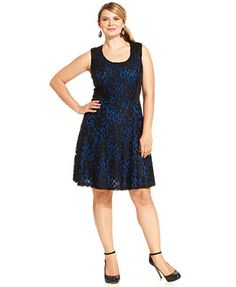 NY Collection Plus Size Sleeveless Lace A-Line Dress