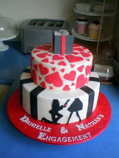 Sugar Siren Cakes Mackay: Kneeling Proposal Silhouette Engagement Cake