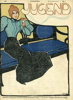 Jugend (woman on bench) by Illegible | Shop original vintage #artnouveau posters online: www.internationalposter.com