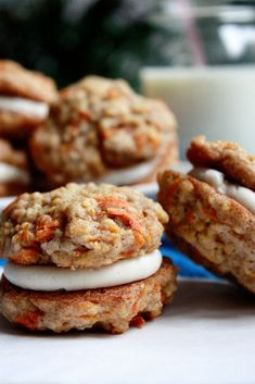 Carrot Cake Sandwich Cookies with Cream Cheese Frosting Filling. Sean would die!