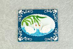 Rosa María Escribano. Cookies. Galletas decoradas. Cisnes. Sauce. Lago con cisnes.