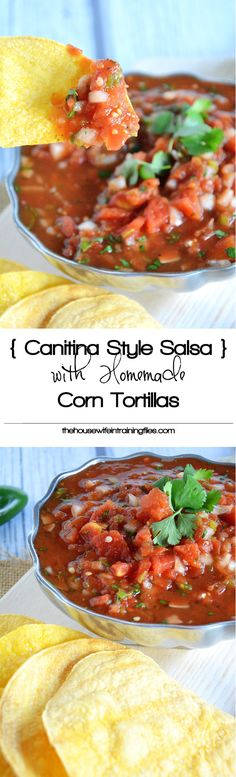 As much as I love Mexican food, I don't think I've ever made fresh salsa. This will be the year to try it! With fresh ingredients, this simple and delicious cantina style salsa with homemade corn tortilla chips comes together quickly for a tasty snack! Yummy Snacks, Healthy Snacks, Healthy Eating, Yummy Food, Healthy Recipes, I Love Food, Good Food, Salsa Guacamole, Homemade Corn Tortillas