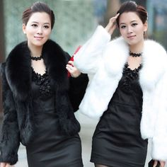 Elegant Womens Short Slim Winter Faux Fur  Furry Warm Jacket Fur Colla Coats