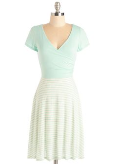 Botanical Breakfast Dress in Mint Stripes