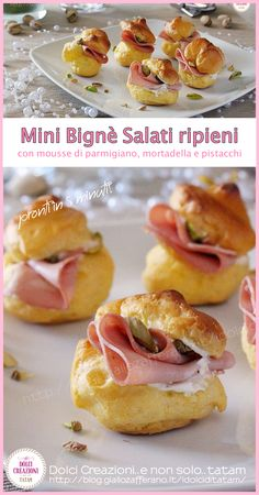 Spicy mini beignets filled with parmesan mousse, mortadella and pistachios - Food House Finger Food Appetizers, Appetizers For Party, Finger Foods, Appetizer Recipes, Brunch, Fingerfood Party, St Patricks Day Food, Snacks Für Party, Antipasto