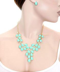 Mint gold fashion teardrop shape necklace set | Jewelry4theheart - Jewelry on ArtFire