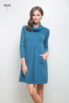 Kim cotton cashmere cowl dress in peacock by Tyler Boe