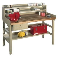 Edsal Deluxe Adjustable Workbench - Steel/Butcher Block Top Work Surface Material - DMM7236T, Durable