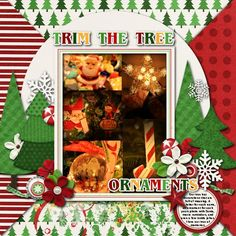 Trim the Tree - Sweet Shoppe Gallery Scrapbook Designs, Scrapbook Kit, Digital Scrapbooking, Ornaments, Create, Gallery, Sweet, Layouts, Christmas