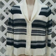 Striped Sweater Gorgeous striped button up sweater cardigan. Soft and cozy. In great condition. Size large.   * sorry no trades  * bundle and save  * feel free to make offers  * smoke free home Faded Glory Sweaters Cardigans