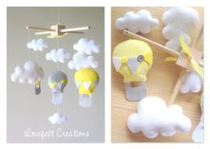 On Sale - READY TO SHIP - Baby mobile - Hot air balloon mobile - Cloud mobile - Neutral mobile