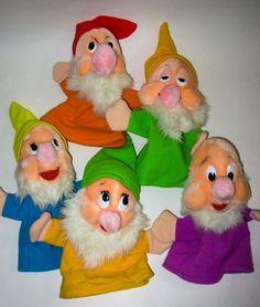 Vintage Disney World Dwarves Puppets Snow White