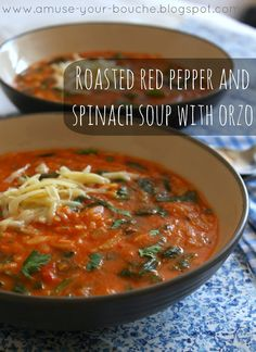 Roasted red pepper and spinach soup with orzo