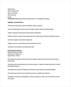 marketing business analyst resume marketing resume samples for successful job hunters it is an - Chronological Sample Resume