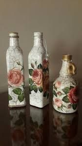 How to paint a wine bottle on canvas inspirational decoupage bottles Wine Bottle Art, Painted Wine Bottles, Diy Bottle, Wine Bottle Crafts, Jar Crafts, Glass Bottles, Decorated Bottles, Shell Crafts, Plastic Bottle