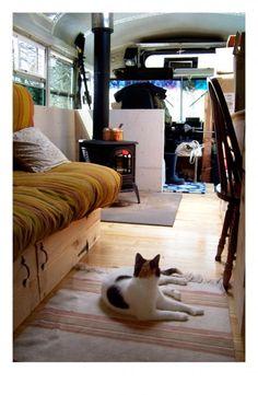 Farm Bus Conversion - Interior of Phil & Chaldea's Bus Home