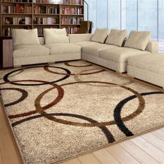 ~Modern Geometric Shag Area Rug - Cream Background with Brown, Black, Moss Green, Beige, Olive Green, Copper & Bronze. Buying an area rug is a fantastic way to add color, warmth and comfort to any room or office space, as well as gain some of the benefits of carpet. | eBay!