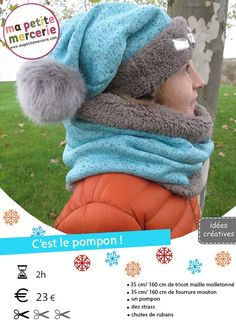Tuto : réalisez un bonnet et un snood Plus Snood Scarf, Diy Scarf, Crochet Diy, Crochet Girls, Sewing Scarves, Sewing Clothes, Baby Couture, Couture Sewing, Hat Patterns To Sew